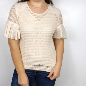 FREE PEOPLE | Cream Open Knit Bell Sleeves Blouse
